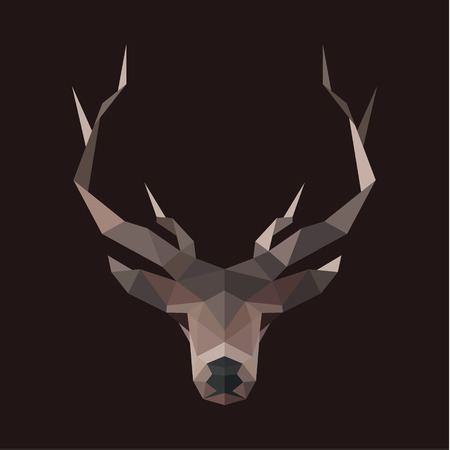 low prizes: Deer polygons horned animal head illustration low poly modern style art Illustration