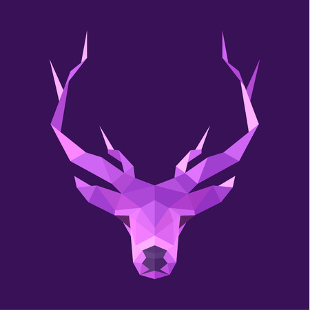 low prizes: horned animal deer head illustration logo low poly modern style sign art Illustration