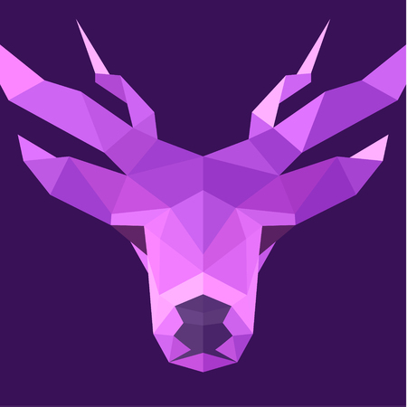 low prizes: Deer polygons horned animal head illustration logo low poly modern style sign art