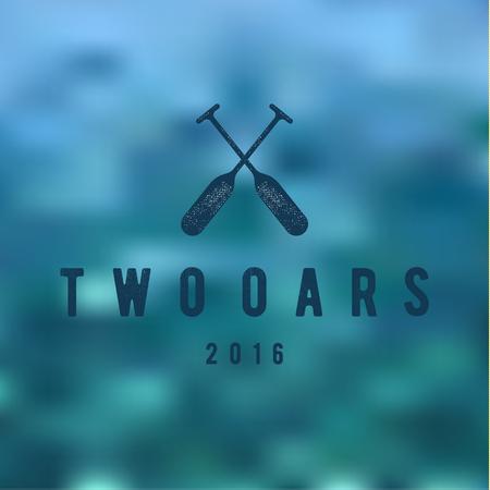 in oars: Two Oars Sign Monogram in Minimalism Flat Illustration art