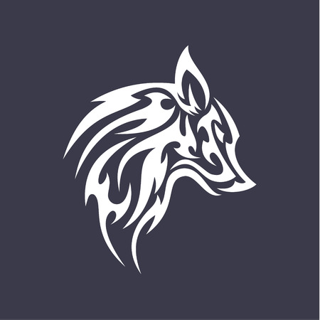 smoother: Wolf flat tattoo style design vector smoother style stylized animal icons art Illustration