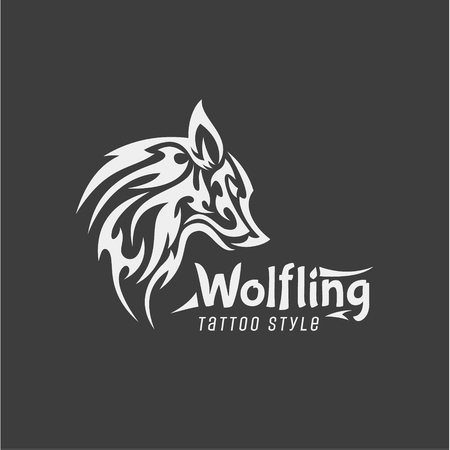 Wolfling Tattoo style Vector Mark of contemporary Design Design Qualitatively of Animal illustrations art