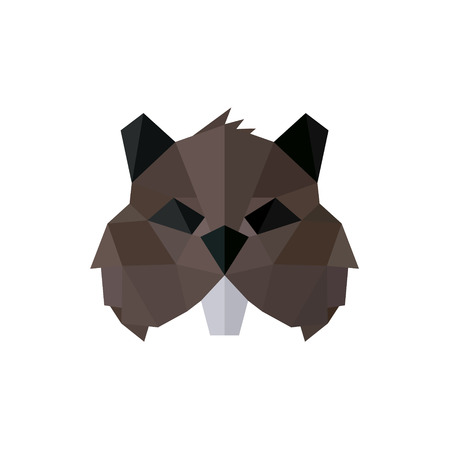 toothy: Rodent polygon logos low poly style illustration brown toothy animal faces art