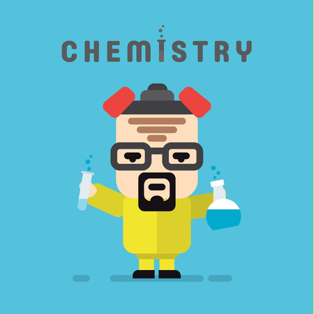 Chemist yellow suit with a respirator, chemistry, flask flat style  illustration