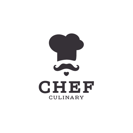 chef cook  icon toque, chefs hat trend flat style brand mustache beard stylinga Фото со стока