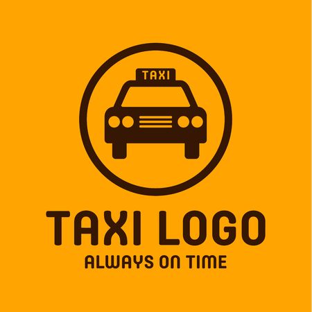 Taxi yellow logo icon style trend car sign, illustrations Фото со стока