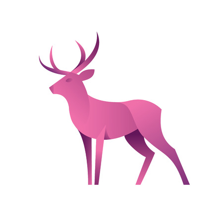 Deer graphic color illustration for the modern gradient design, a plastic form of animal art