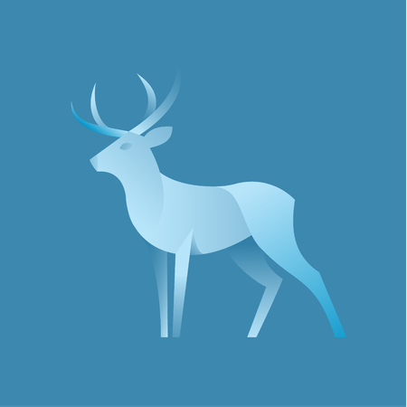 Deer graphic color illustration logo for the brand in modern gradient design, a plastic form of animal art