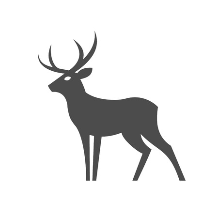 Monochrome Deer with antlers illustration for the in a modern minimalist design, plastic form of an animal one color art