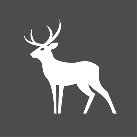Monochrome Deer with antlers illustration for modern minimalist design, plastic form of an animal one color art Иллюстрация