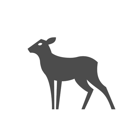 Deer feminine without horns Monochrome illustration modern minimalist design, a plastic form an animal in one color art