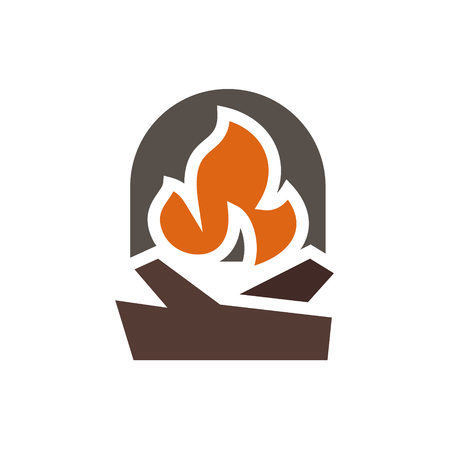 Fireplace abstract mark logo in minimalism art Illustration