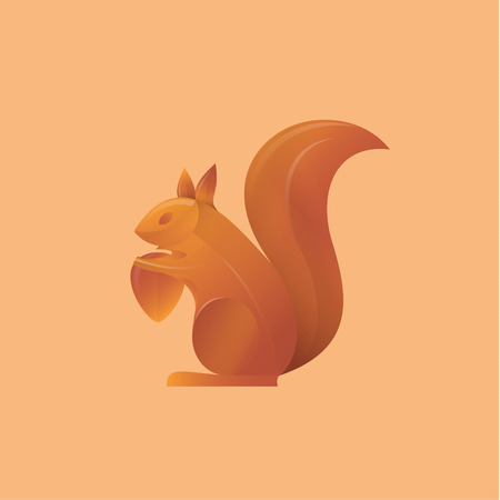 squirrel holding an acorn high-quality illustrations art