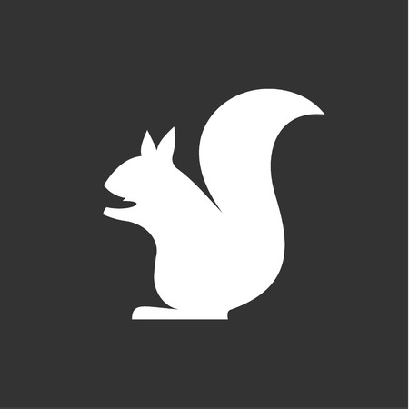 squirrel sits vector in monochrome, minimalism into flat art
