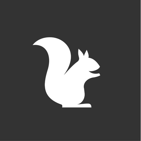 squirrel sits vector logo in monochrome, minimalism into flat art