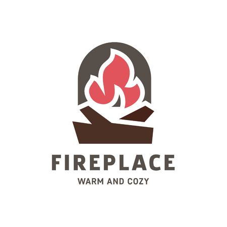 fireplaces: Logo fireplace vector into flat style trend art Illustration