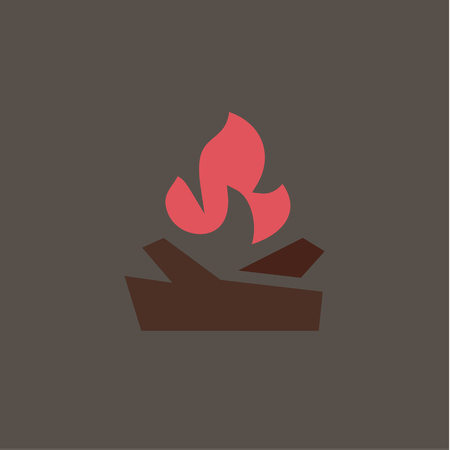 Fiery fire with wood in the camp Qualitatively vector for companies art