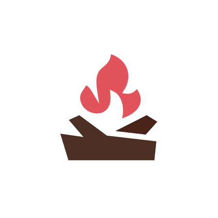 fire wood: fire with wood in the camp Qualitatively vector logo for companies art