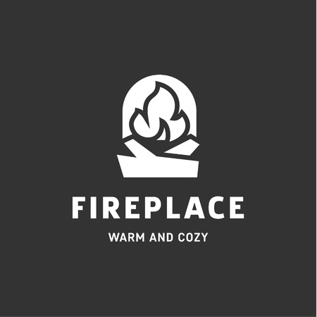 urning fireplace with wood in an open fire sign vector logo flat style illustrations art Иллюстрация