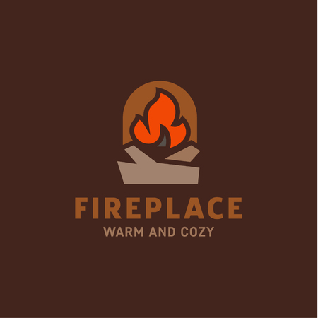 fire in the fireplace with firewood illustration flat minimalist trend art Иллюстрация