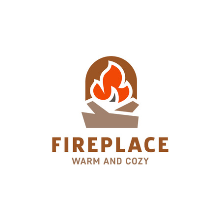 fire in the fireplace with firewood logo illustration flat minimalist trend art Иллюстрация