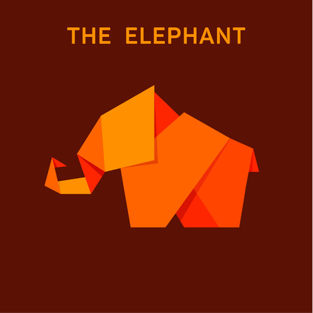 Elephant flat style design illustration animals Origami polygons art