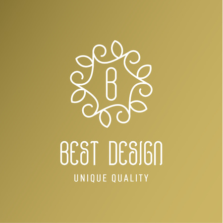 Ornament with leaves best design a gold logo, line style art Иллюстрация