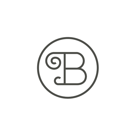 vintage Sign of the letter B in a straight line, logo design minimalism art
