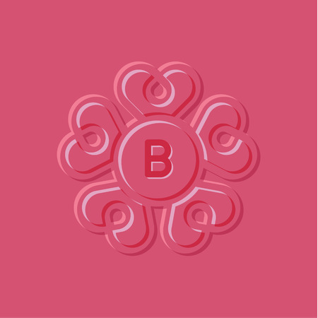 Hearts illustration pink surround style, the letter B art