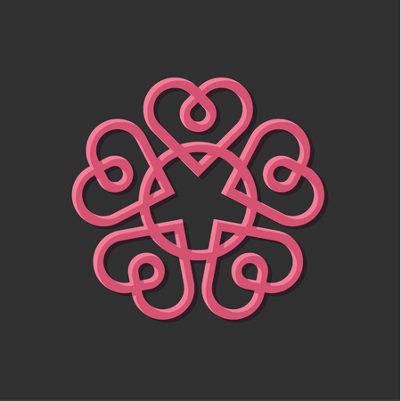 Linear Monogram vintage vector illustration with hearts on a wedding theme art