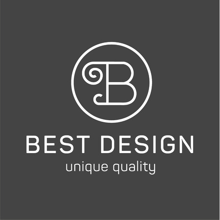 Monogram letter B in the minimalism in the background, high quality style logo art Иллюстрация
