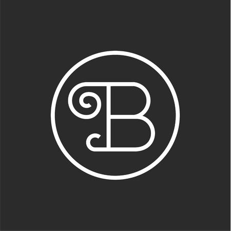 Sign vintage of the letter B in a straight line, logo design minimalism art Illusztráció
