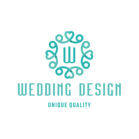 Wedding logo design turquoise with hearts and the letter W art