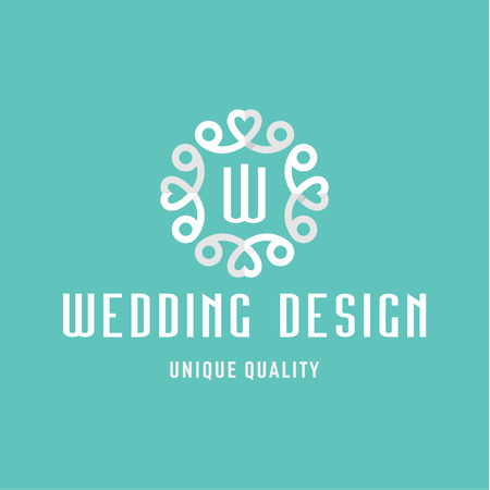 Letter W, flat Design, Wedding sign in the form of an Ornament with Hearts art Иллюстрация
