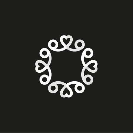 Ornament with Hearts, illustration, minimalism vector art logo Illusztráció