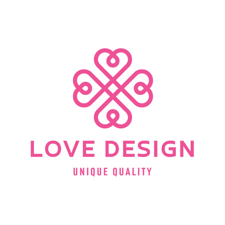 Love heart sign design template logo flat style quality illustration  linear trend vector art Иллюстрация