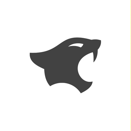 Panthers head with open mouth in minimalism flat  sign illustrations