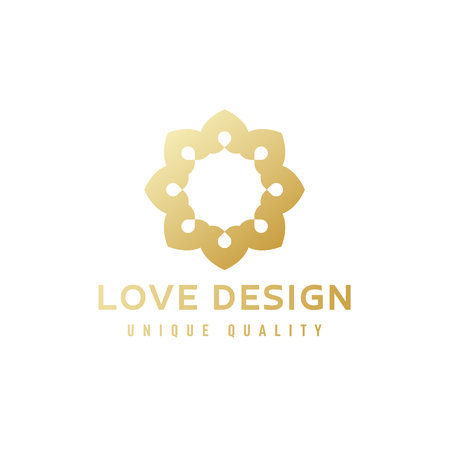 Abstract emblem sign gold gradient on quality