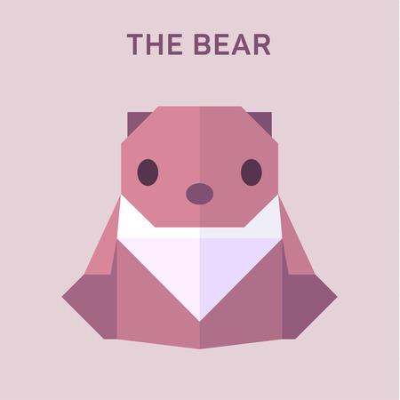 Bear Animals origami vector illustration flat Illusztráció