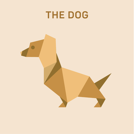 Dachshund Dog Basset Flat Origami vector illustration, low poly. Фото со стока - 74124818