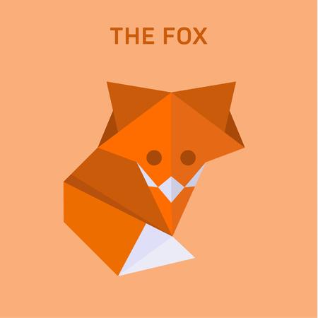 Fox origami vector illustration of flat polygons Illusztráció