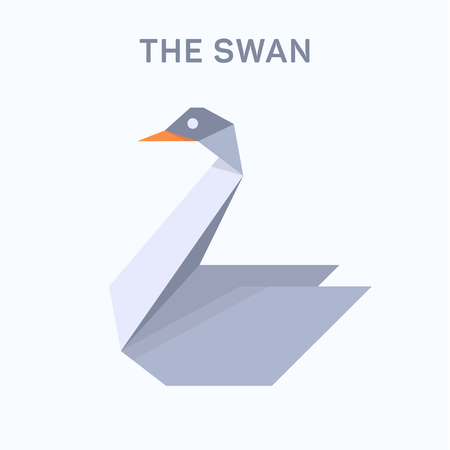 Swan origami illustration verge flat trend style