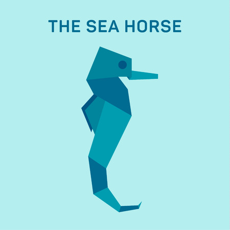 Seahorse Origami Vector Illustration Flat Trend