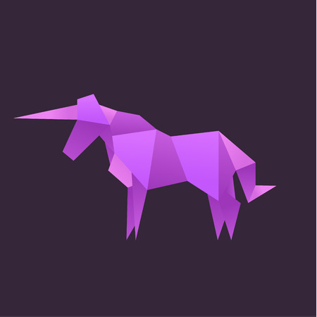 Origami Unicorn Animals vector illustration logo