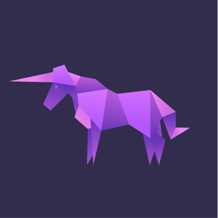 Unicorn Animals origami vector illustration