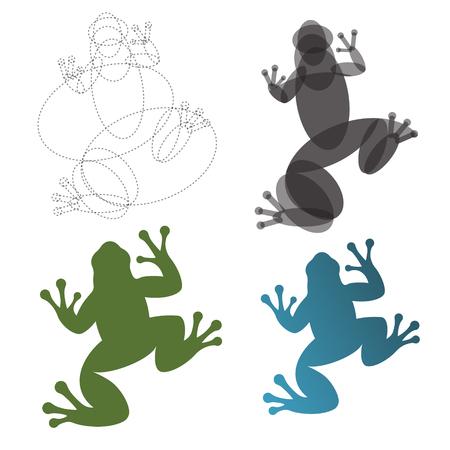 Padda kikker, illustraties, constructie markeer het gouden ratio trend logo Stock Illustratie