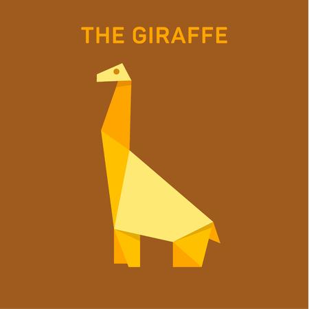 Giraffe Animals origami vector illustration flat Illusztráció