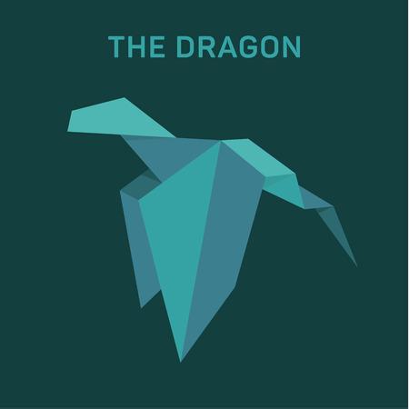 Origami Dragon Animals vector illustratie plat