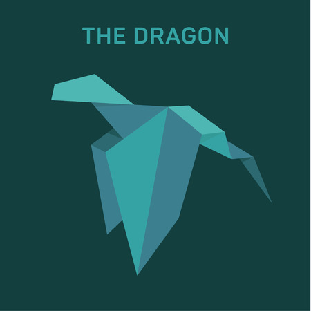 Origami Dragon Animals vector illustration flat Фото со стока - 74345917