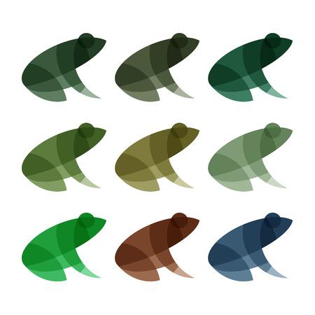 Kikkers logo's illustratie het effect van overlay moderne vector trendy mark.